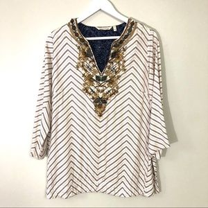 Soft surround striped embroidered tunic